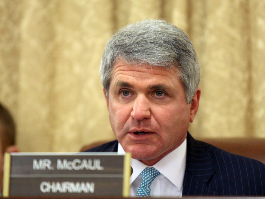 "House Homeland Security Chairman Rep. Mike McCaul, R-Texas speaks on Capitol Hill in Washington, in March. McCaul said one security threat to the pope had been ""disrupted"" and that the U.S. remains vigilant for others."