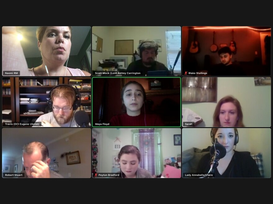 Actors appear from their various locations together on the Zoom video conference platform
