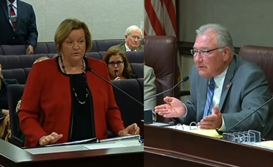Florida Department of Corrections Secretary Julie Jones speaking Monday to the Senate Criminal Justice Committee, chaired by Sen. Greg Evers (R-Baker).