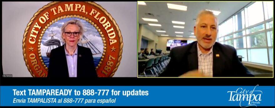 Tampa Mayor Jane Castor, left, and St. Petersburg Mayor  Rick Kriseman