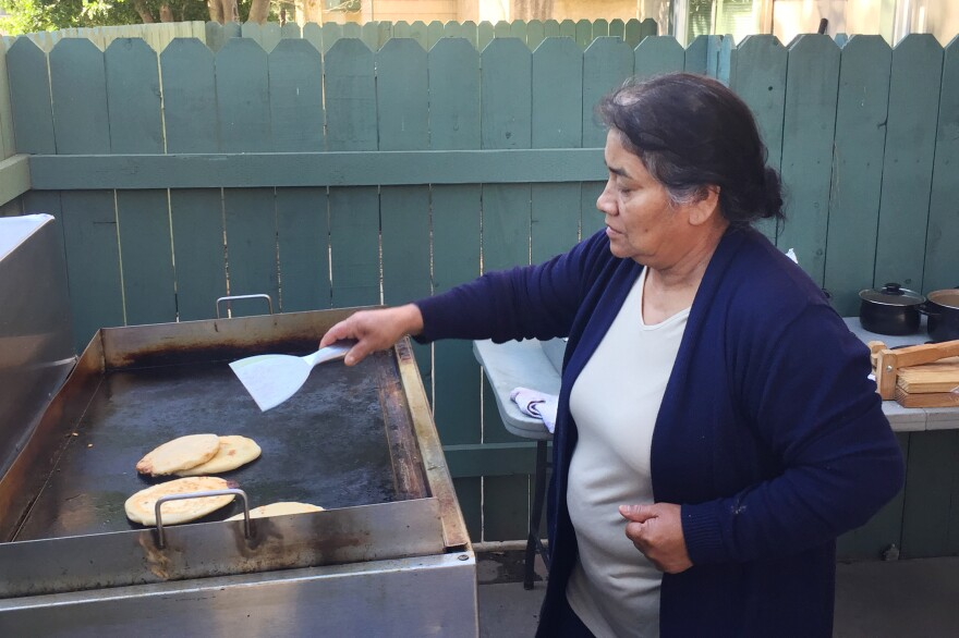 Maria Contreras, José's sister, makes papusas and other food for sale in Southern California — to help support the family while José is in detention at the ICE Adelanto Processing Center. He has been held there for months without his glasses or requested counseling for depression, she says, and doesn't get his diabetes medication when he needs it.