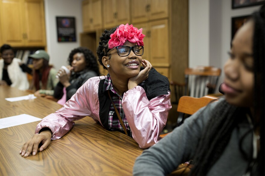 Ty'Chila Thomas answers trivia questions during a L.O.V.E Project session at Lafayette High School in Wildwood. Feb. 14, 2018