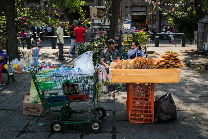 A variety of fried snacks and soft drinks are for sale in Mexico City's Centro Historico neighborhood.