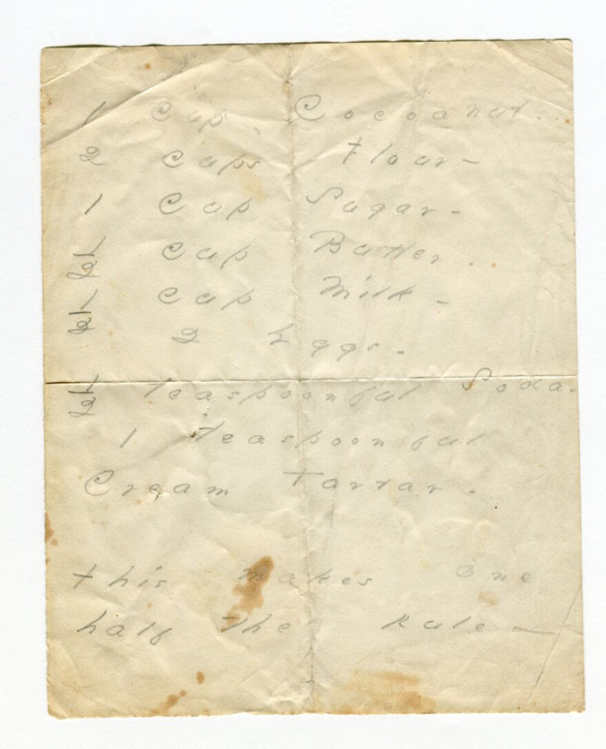 <p>The Poets House in New York City is exhibiting this manuscript of an Emily Dickinson cake recipe that calls for coconut.</p>