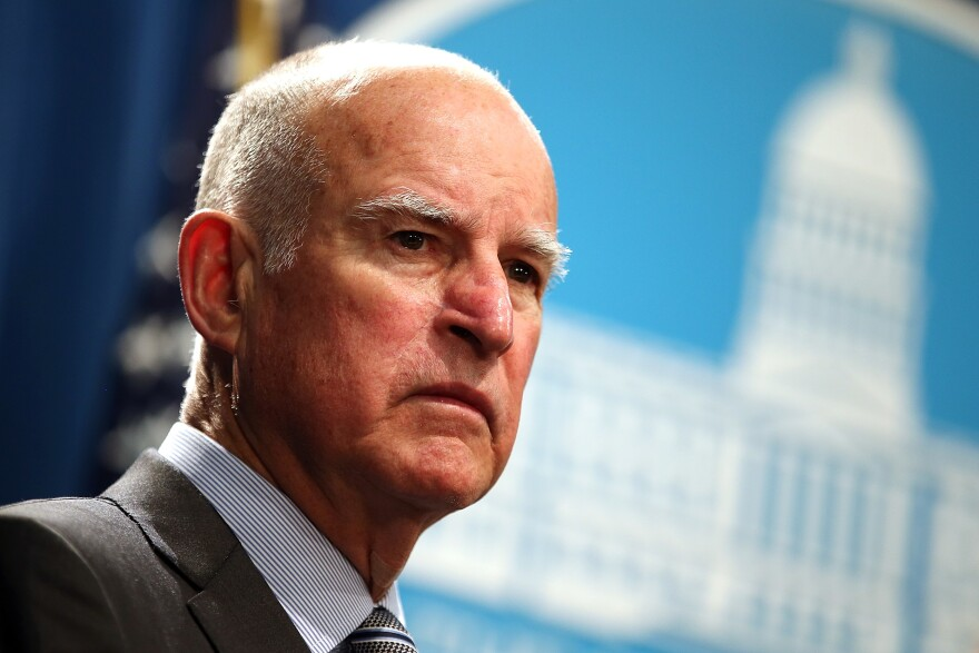 California Gov. Jerry Brown during a news conference to announce emergency drought legislation in 2015.