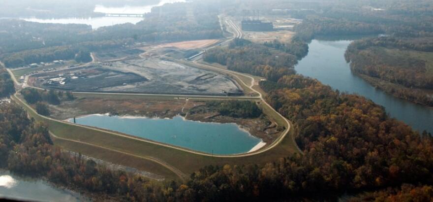 Duke Energy is removing coal ash from basins near the retired Riverbend Plant, near Mountain Island Lake.