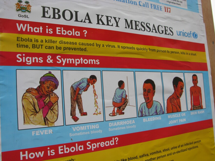 """""""Kick Back Ebola"""": A poster campaign throughout Sierra Leone uses graphic illustrations to educate people about how to detect the deadly virus."""