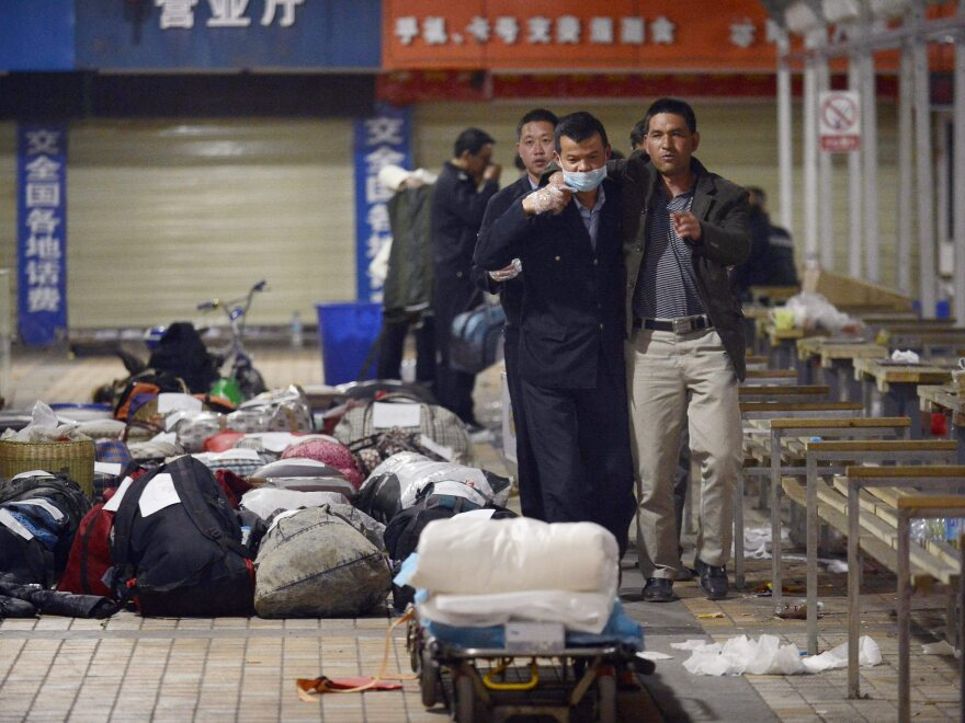 The scene of a deadly knife attack at the railway station in Kunming in southwest China's Yunnan province on Saturday.