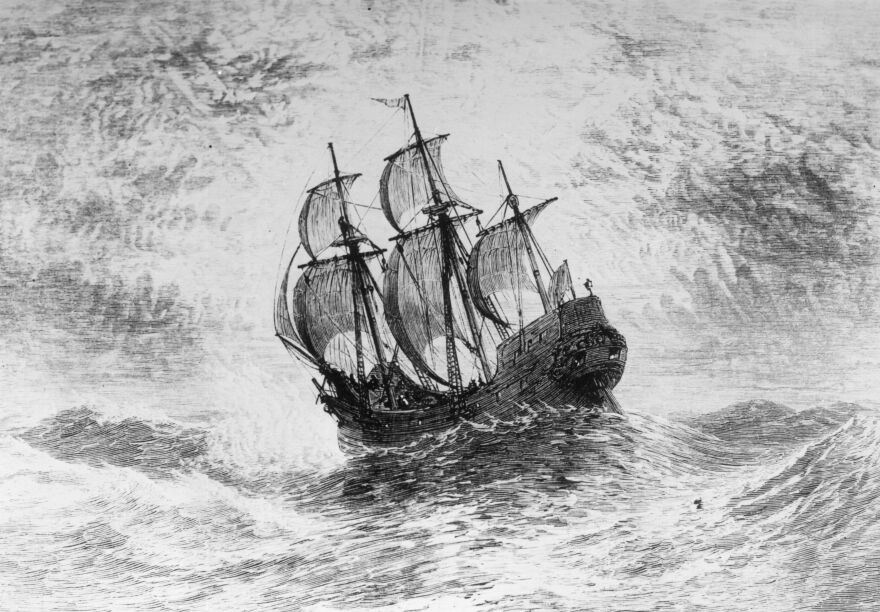 The Mayflower, the ship in which the Pilgrims crossed the Atlantic to the New World in 1620.