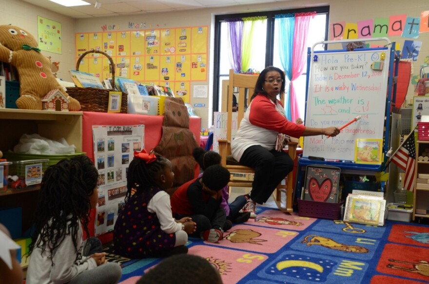 Dr. Stephanie Parker begins the class day at Huffman Academy Pre-K by having the students fill in a sentence about the day Dec. 15, 2018.