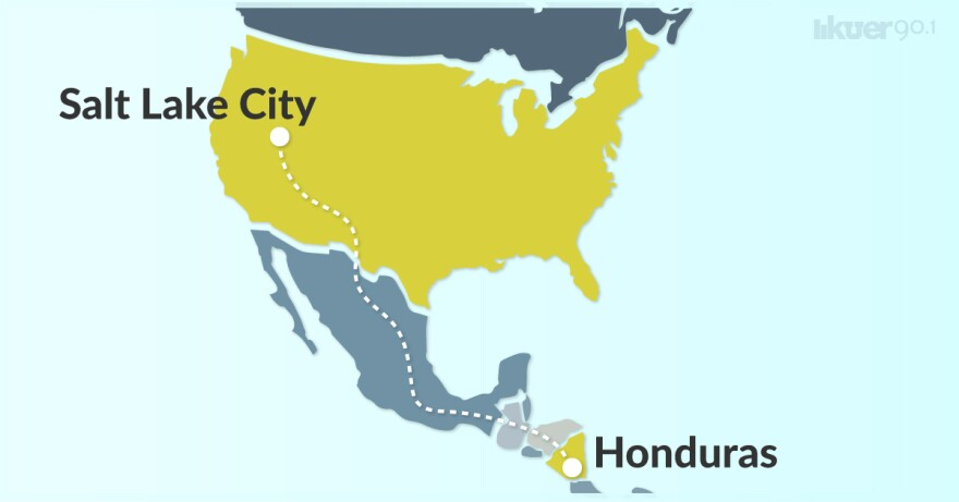 An illustrated map of the path from Honduras to Salt Lake City.