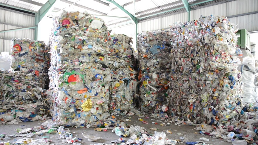 Collected material, including plastic, is baled at TerraCycle.