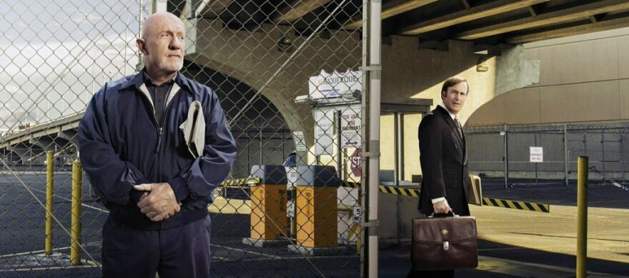 Jonathan Banks' character Mike Ehrmantraut (left), a hit man and fixer, was a natural to bring back to <em>Breaking Bad</em>'s prequel <em>Better Call Saul</em>. Co-creator Peter Gould says he was the right contrast with Saul Goodman, played by Bob Odenkirk (right).