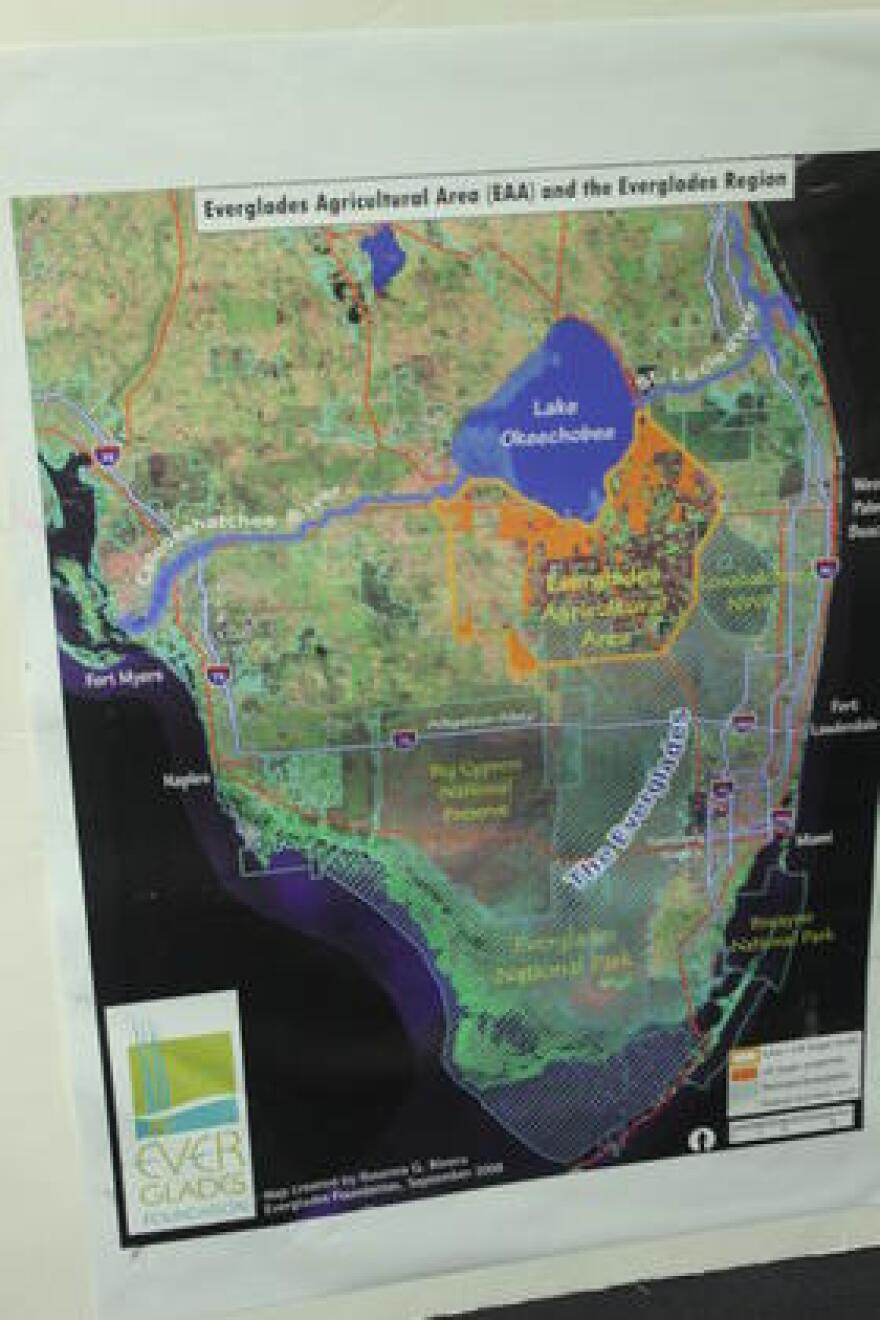 A map highlighting South Florida's hydrology.