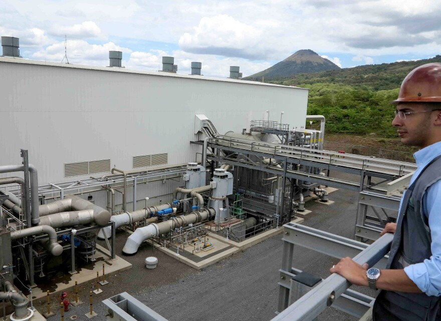 Nicaragua is no longer dependent on oil imports, thanks to the renewable-energy push. Here, Antonio Duarte, general manager, overlooks the geothermal plant in San Jacinto, Nicaragua, in August 2014.