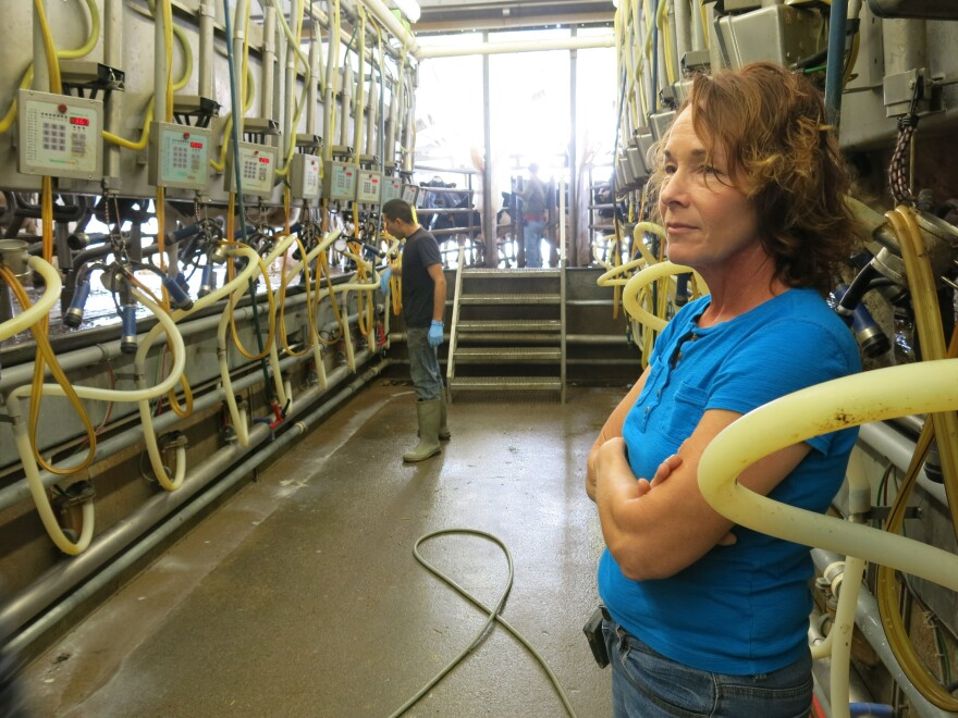 Owner Mary Kraft at Badger Creek Dairy outside Fort Morgan, Colo.