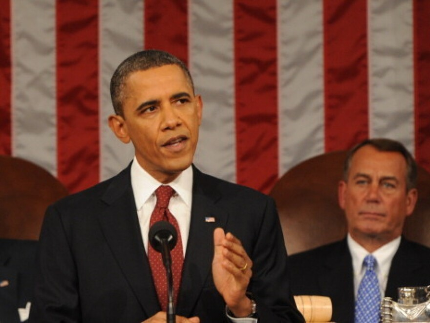President Obama, with House Speaker John Boehner (R-Ohio) behind him, delivering his State of the Union address last January.
