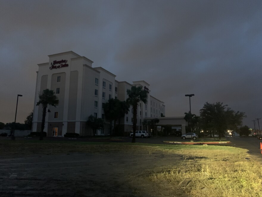 Hurricane Hanna rolls in near the Hampton Inn where migrants were being held.