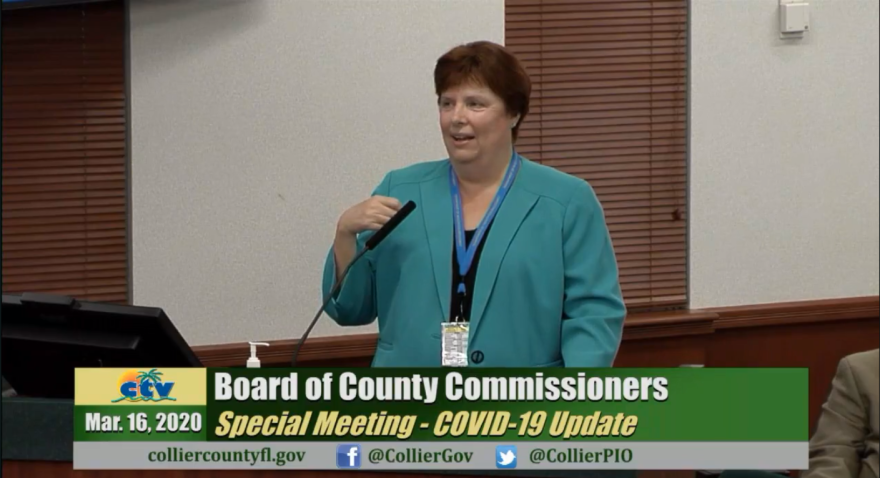 Administrator of the Florida Department of Health in Collier County, Stephanie Vick, during an emergency meeting held by The Collier County Board of County Commissioners