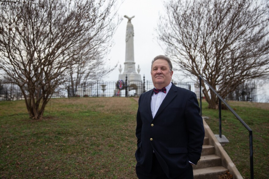 Greene County Historian Tim Massey poses for a portrait at the Andrew Johnson National Cemetery in Greeneville, Tenn.