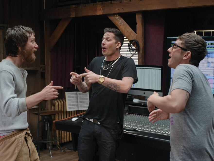 Akiva Schaffer, Andy Samberg and Jorma Taccone play the hip-hop trio The Style Boyz in the film <em>Popstar: Never Stop Never Stopping.</em>