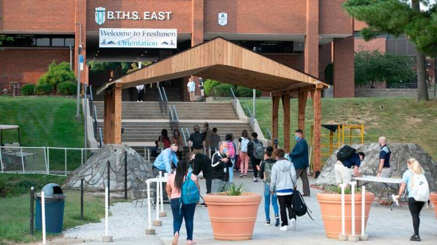 Half of the freshman class at Belleville Township High School East arrived on campus in September for their orientation day. District 201, which includes Belleville East and West high schools started a modified schedule to return students to the classroom during the coronavirus pandemic.