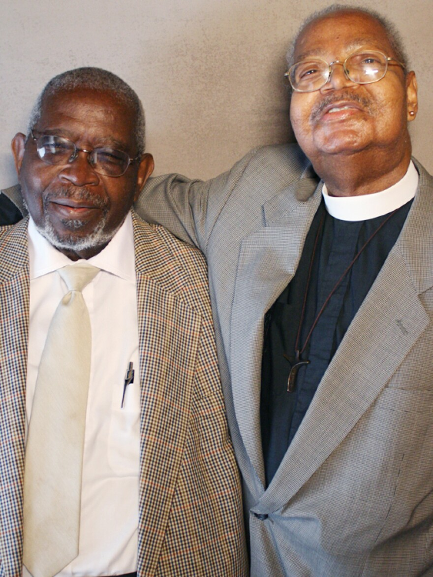 Herman Blake, left, and Sidney Blake at StoryCorps in New York.