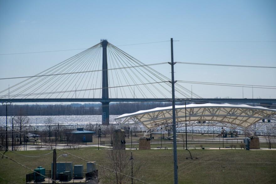 Clark Bridge and Alton Riverfront. March 21, 2018.