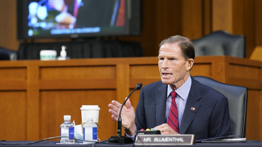 Sen. Richard Blumenthal, D-Conn., speaks before the Senate Judiciary Committee during the confirmation hearing for nominee Amy Coney Barrett on Thursday.
