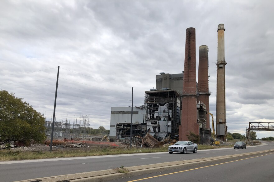 Progress in the demolition of the Wood River Power Station in October.2020. The three smokestacks are set to come down Monday.
