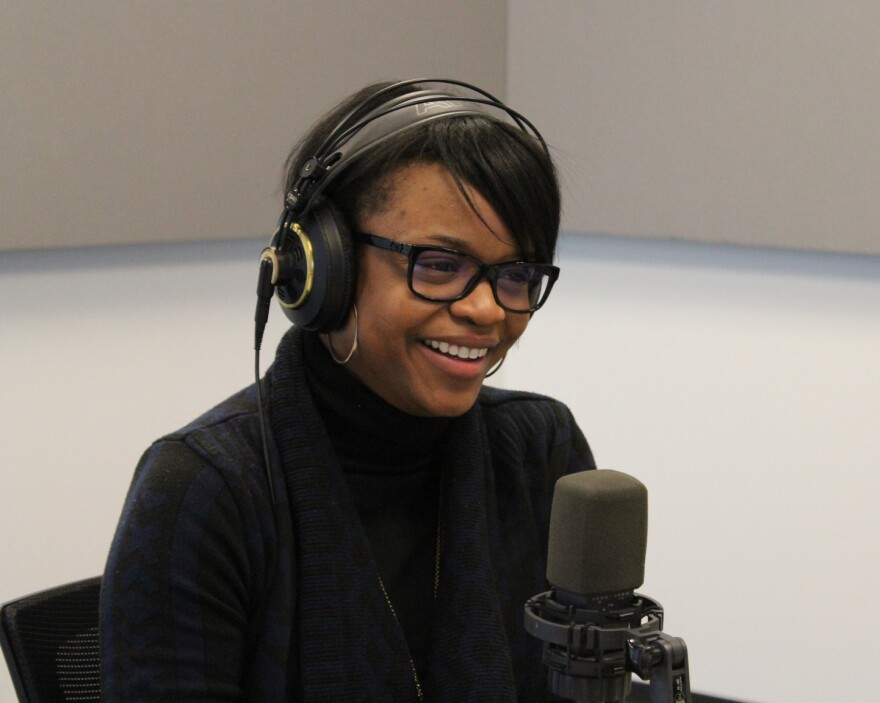 Brittany Packnett, Teach for America–St. Louis' executive director, talks to 'St. Louis on the Air' host Don Marsh on March 18, 2015, at St. Louis Public Radio in St. Louis.