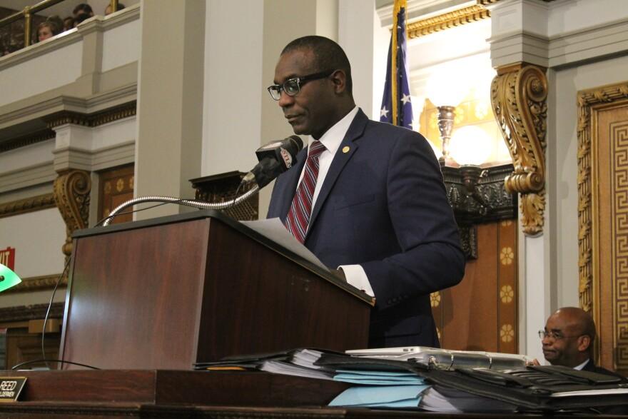 St. Louis Board of Aldermen President Lewis Reed presides over Friday's session of the Board of Aldermen.