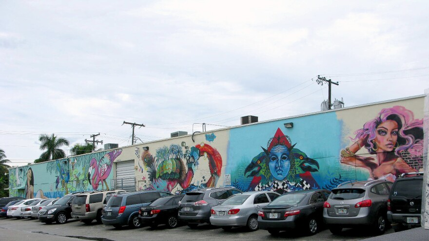 Colorful street art brightens the otherwise drab warehouses in Hialeah, Fla., where Cuban and Haitian immigrants labor inside binding books, making furniture and sewing clothes.