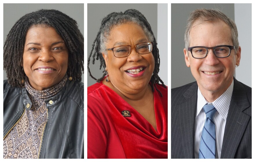 """(January 31, 2019) (L-R) Carol Daniel, Linda Lockhart and Eric Rothenbuhler discussed how the industry covers African-American communities on """"St. Louis on the Air."""""""