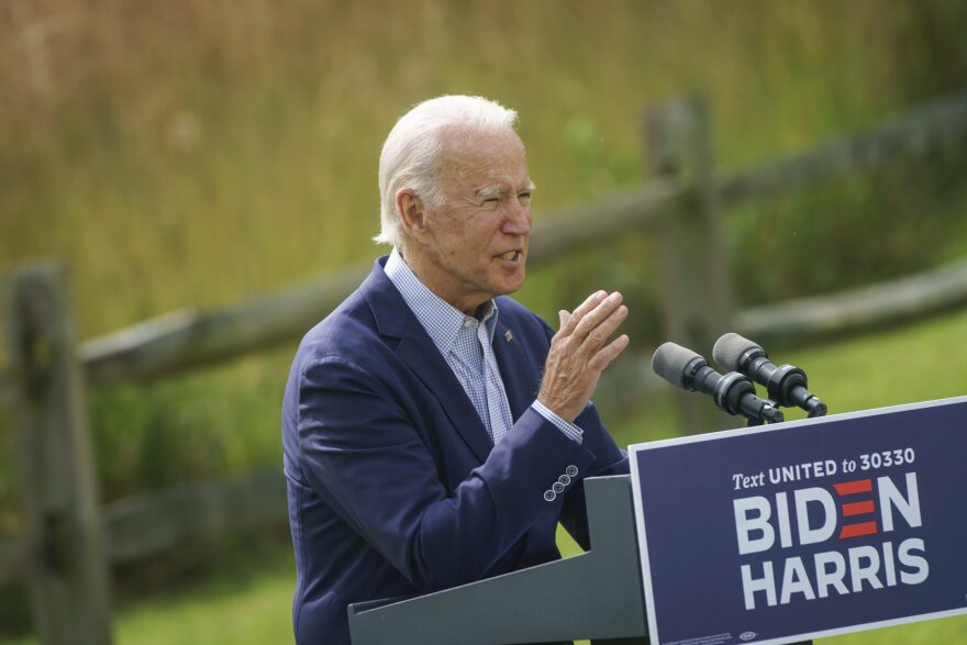 Democratic presidential nominee Joe Biden speaks about climate change and the wildfires on the West Coast at the Delaware Museum of Natural History on Sept. 14, 2020 in Wilmington, Delaware. (Drew Angerer/Getty Images)