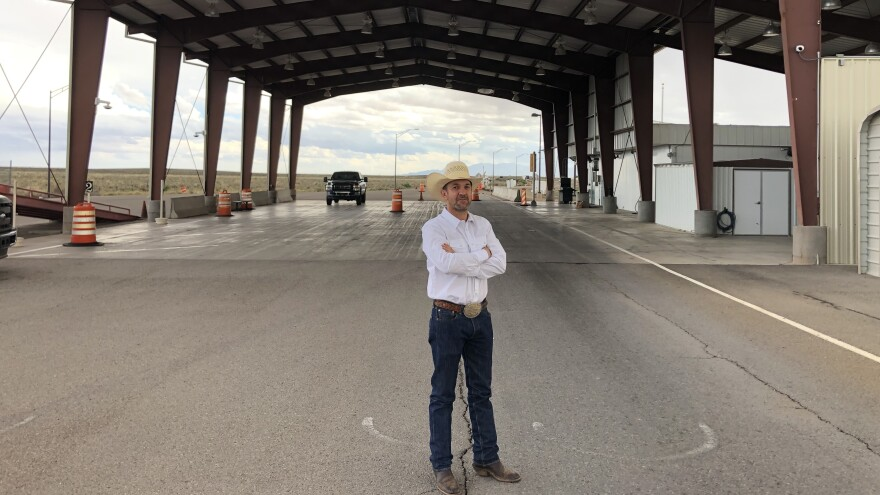 Couy Griffin, chairman of the Otero County Board of Commissioners, stands at the Border Patrol's abandoned U.S. Route 70 checkpoint in New Mexico. The Border Patrol checkpoints have been shutdown in the El Paso Sector as agents have been diverted to deal with an influx of immigrants.