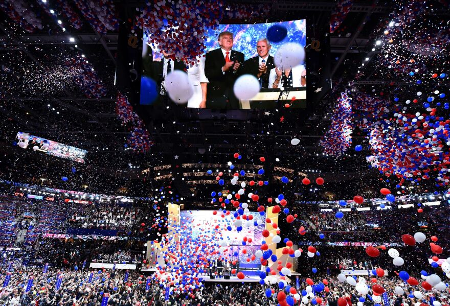 Balloons fall from the ceiling to mark the conclusion of the Republican National Convention.