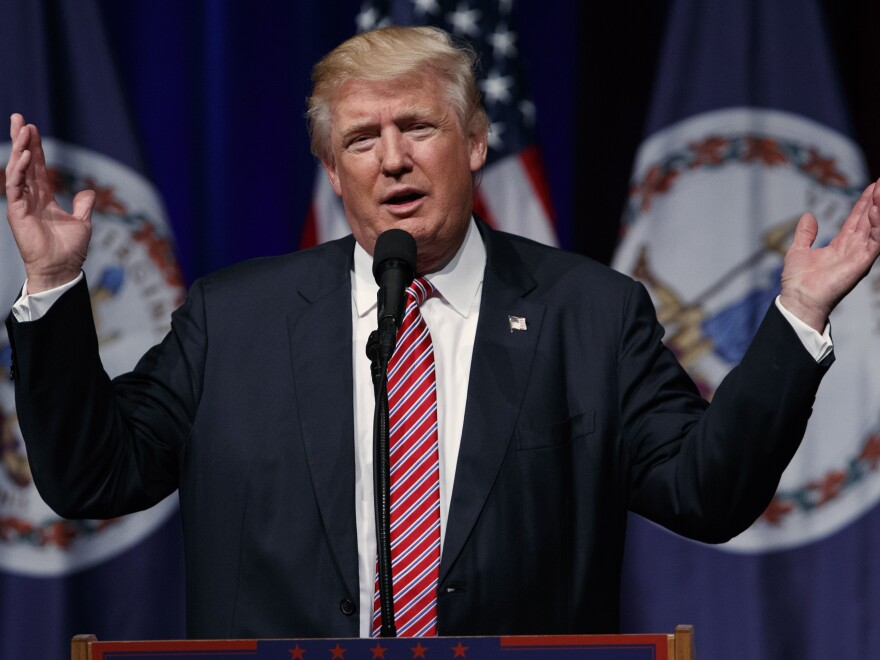 Republican presidential candidate Donald Trump speaks during a campaign rally in Ashburn, Va.