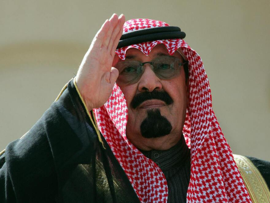 Then-Crown Prince Abdullah bin Abdul Aziz (now King Abdullah) salutes during a welcoming ceremony prior to the start of a counterterrorism conference in Riyadh in February 2005. Saudi Arabia, hit by a wave of attacks by suspected al-Qaida militants, called at the start of the conference for the establishment of an international center to combat and pre-empt terrorism.