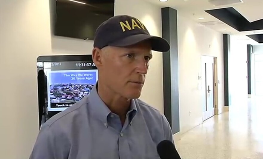 Gov. Rick Scott speaking to reporters Monday, following a stop in Marathon to speak with local Officials on Hurricane Irma response and recovery efforts.