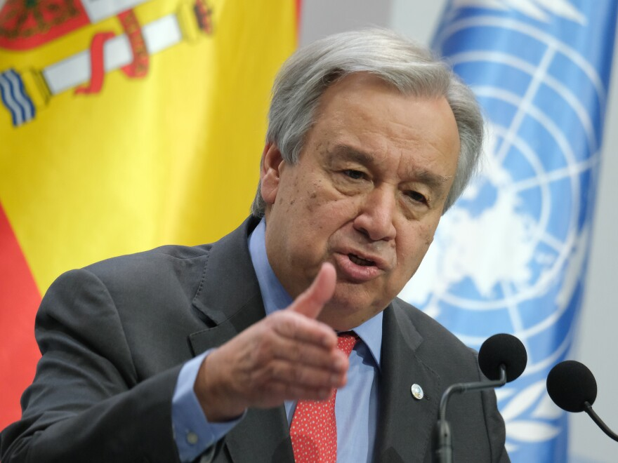 """United Nations Secretary-General António Guterres at the opening day of the COP25 climate conference on Monday in Madrid. """"Do we really want to be remembered as the generation that buried its head in the sand? That fiddled while the planet burned?"""" he said."""