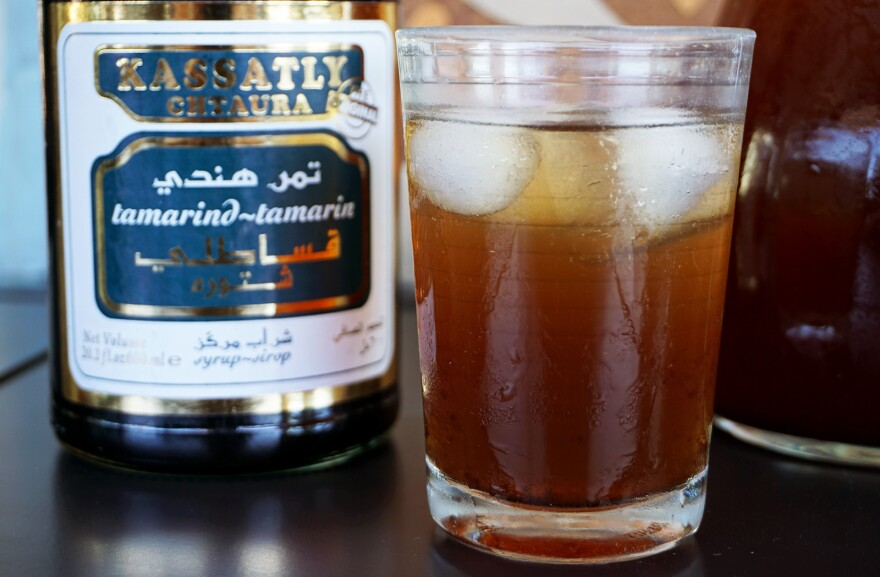Favorite Ramadan drinks vary by country. In Jordan and Lebanon, <em>tamer hindi</em>, a tamarind-based beverage (seen above), is often offered alongside <em>qamar al-deen, </em>a thick apricot nectar.