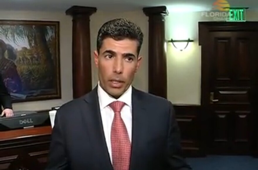 House Speaker Jose Oliva (R-Miami Lakes) talks to a group of reporters