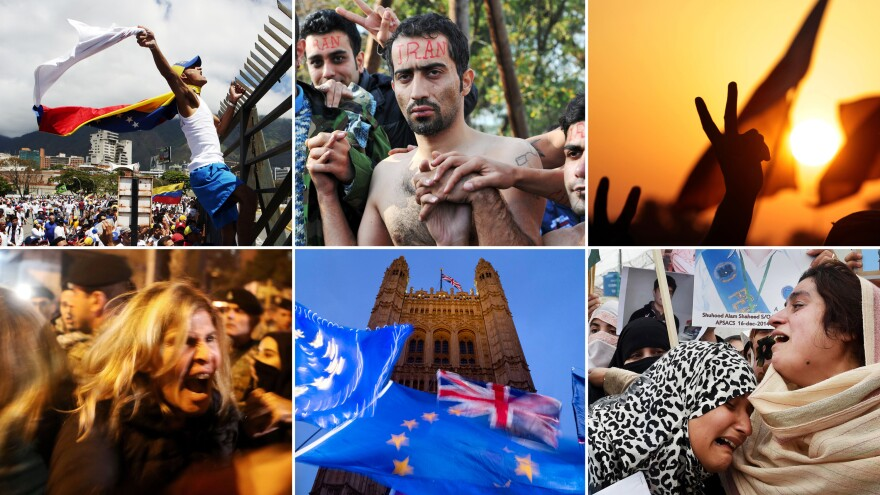 Clockwise from top left: Venezuela in 2019; Greece in 2015; Bahrain in 2011; Pakistan in 2015; Britain in 2019; Lebanon in 2019. Protests have been emblematic of the entire past decade.
