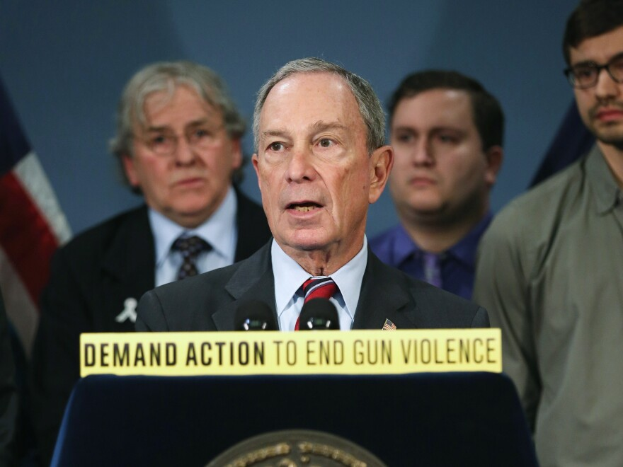 New York Mayor Bloomberg speaks out for gun reform at a March news conference in New York.