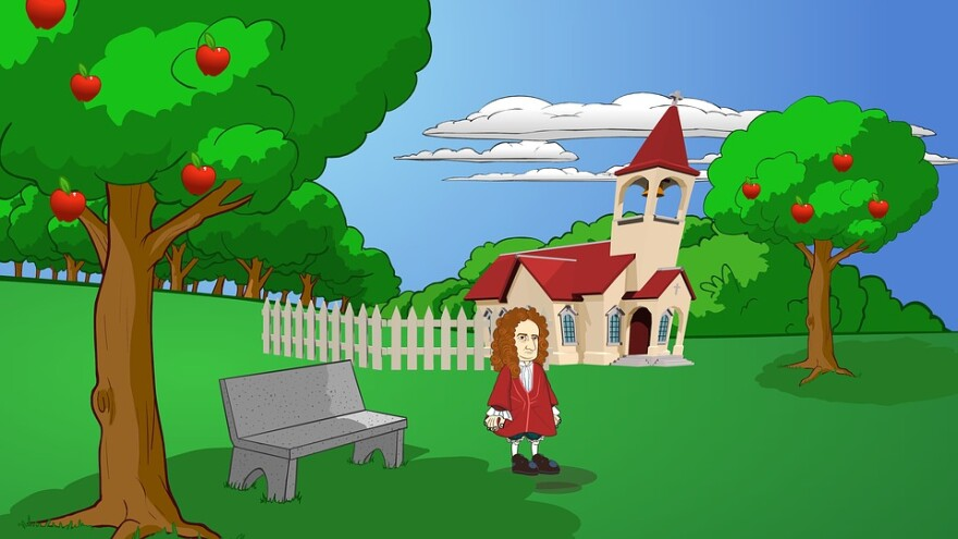 Newton with Apple trees cartoon.jpg
