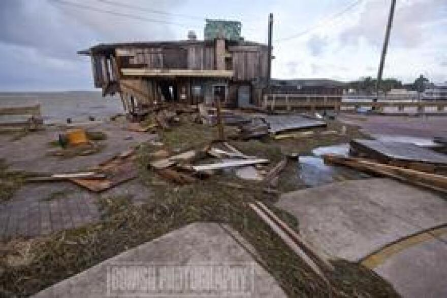Damage from storm surge in Cedar Key due to Hurricane Hermine.