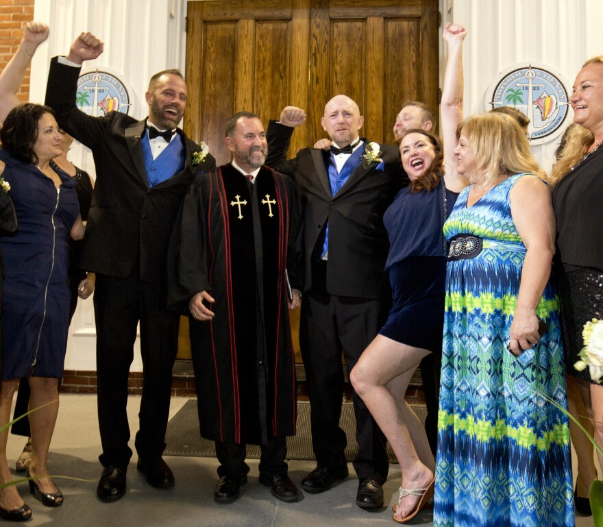 Aaron Hunstman and William Lee Jones were the first gay couple to receive a marriage license and wed in Key West.