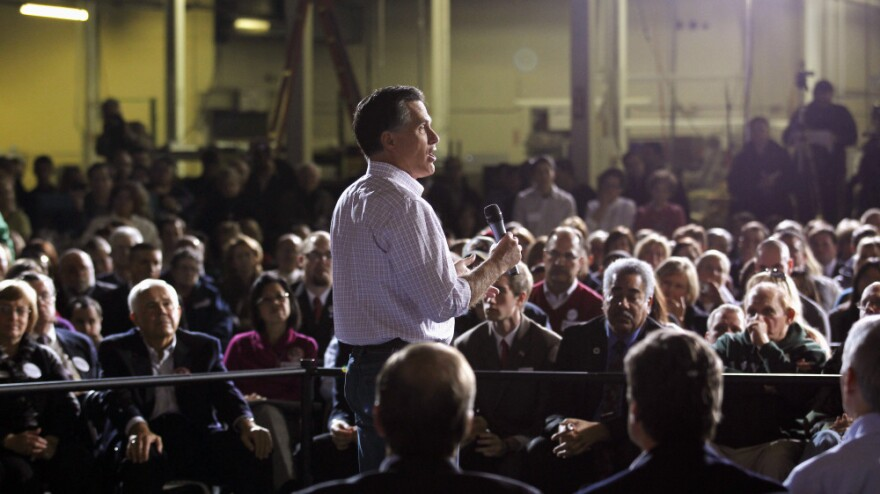 Mitt Romney speaks at a March 3 rally in Dayton, Ohio, where he told the story of the 1996 disappearance of the daughter of a colleague.