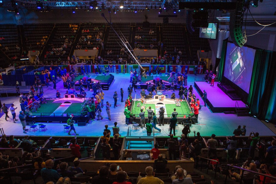 For a few days, DAR Constitution Hall in Washington, D.C., was transformed into a competitive robotics arena, where teenagers from 157 countries gathered for the First Global Challenge.